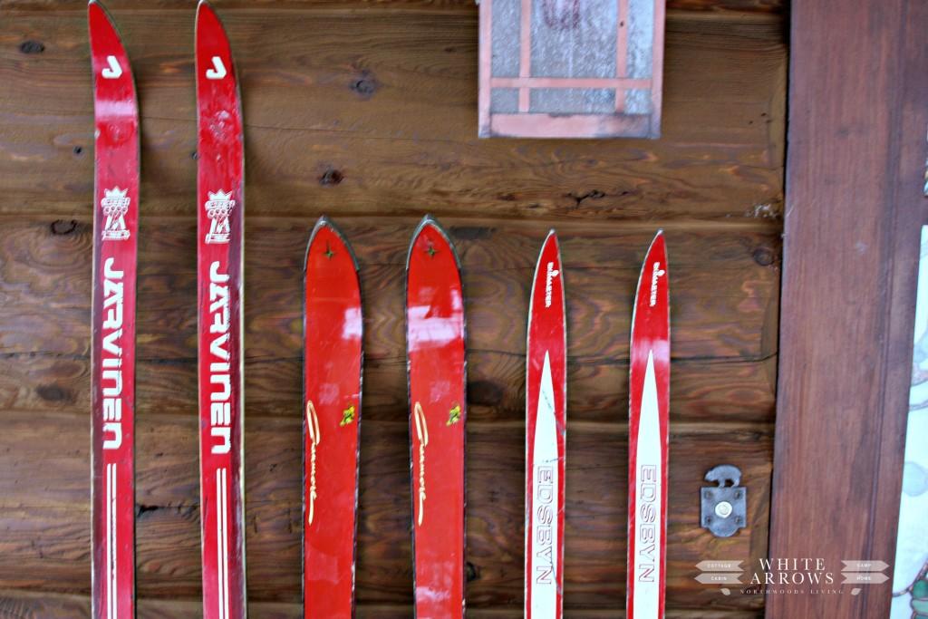 Red Skis, Front Porch, Bear Door Bell, Log Cabin, Cabin, Rustic, Cabin