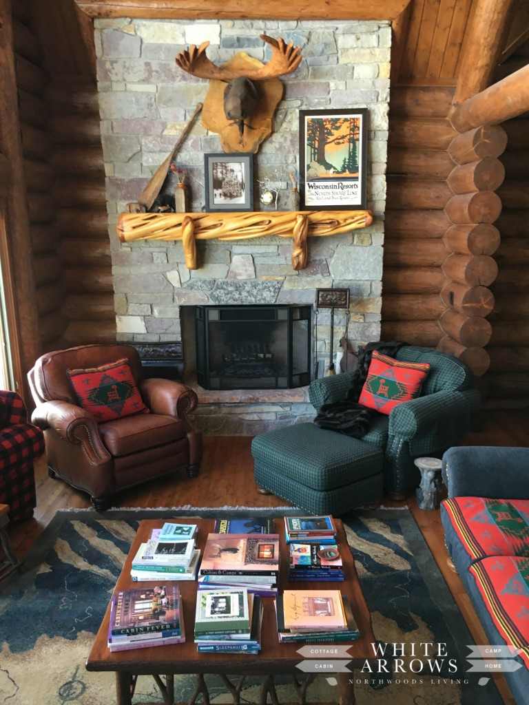 Rock Fireplace, Wooden Moosehead, Log Home, Great Room, log cabin, cabin