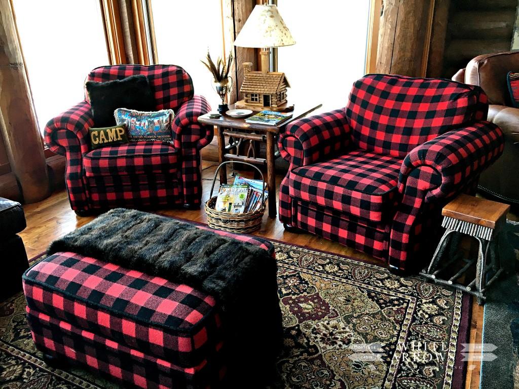 Buffalo Plaid, Buffalo Plaid Chair, Buffalo Plaid, Cabin style, Cabin Decor, Log Cabin, Cabin furniture