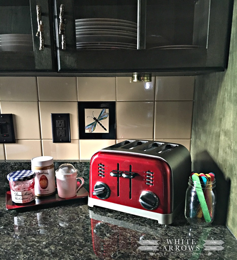 log home-justins almond butter-red toaster-kitchen
