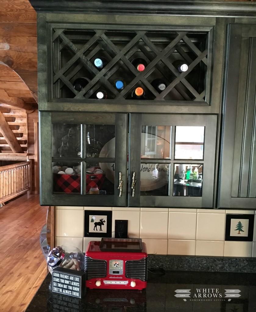 kitchen- red radio-log cabin