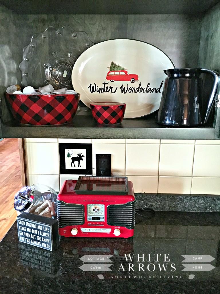red radio-kitchen-log home