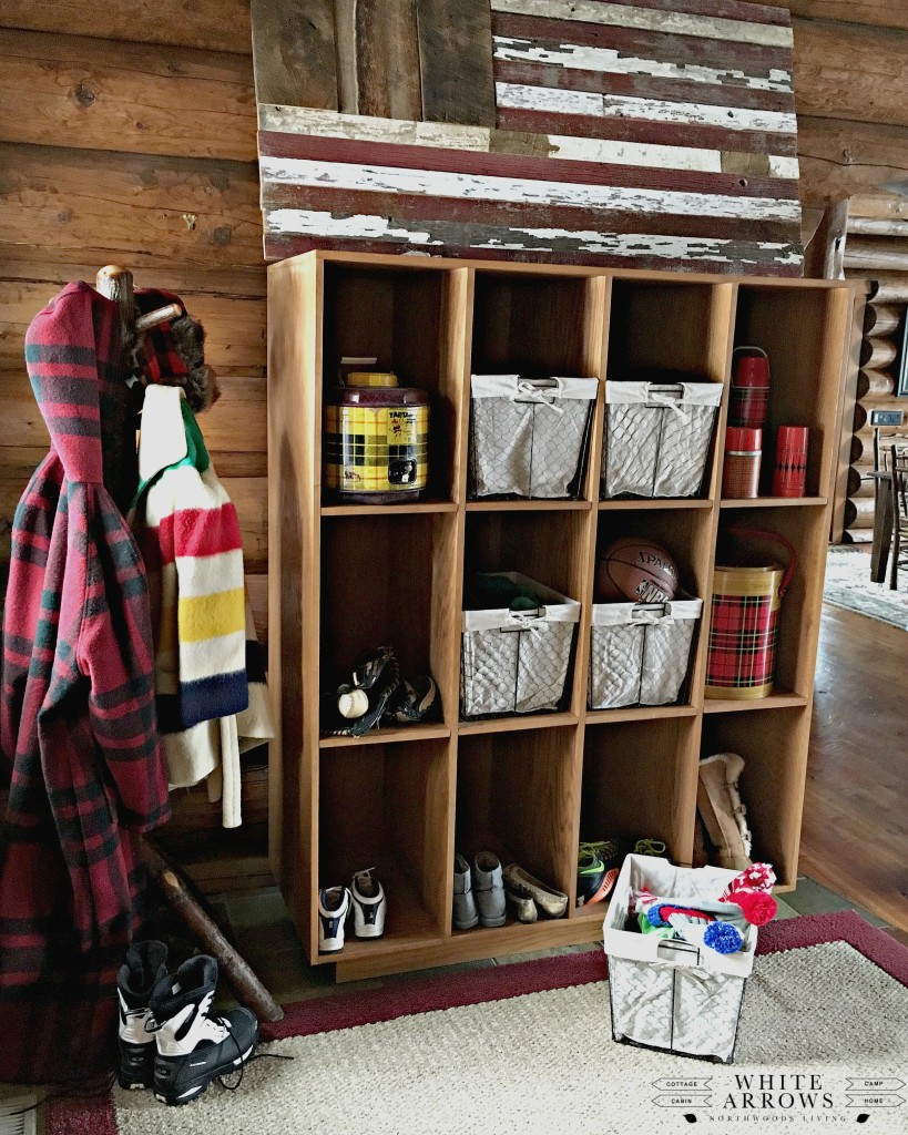 mudroom, log home, entry way, cubbies, pendelton, Hudson Bay, wire baskets, vintage, woolwich, vintage thermos, barn wood