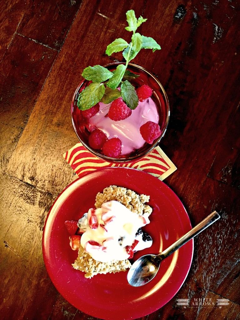 Baked Oatmeal, Brunch, Water Glass, Raspberries, Mint
