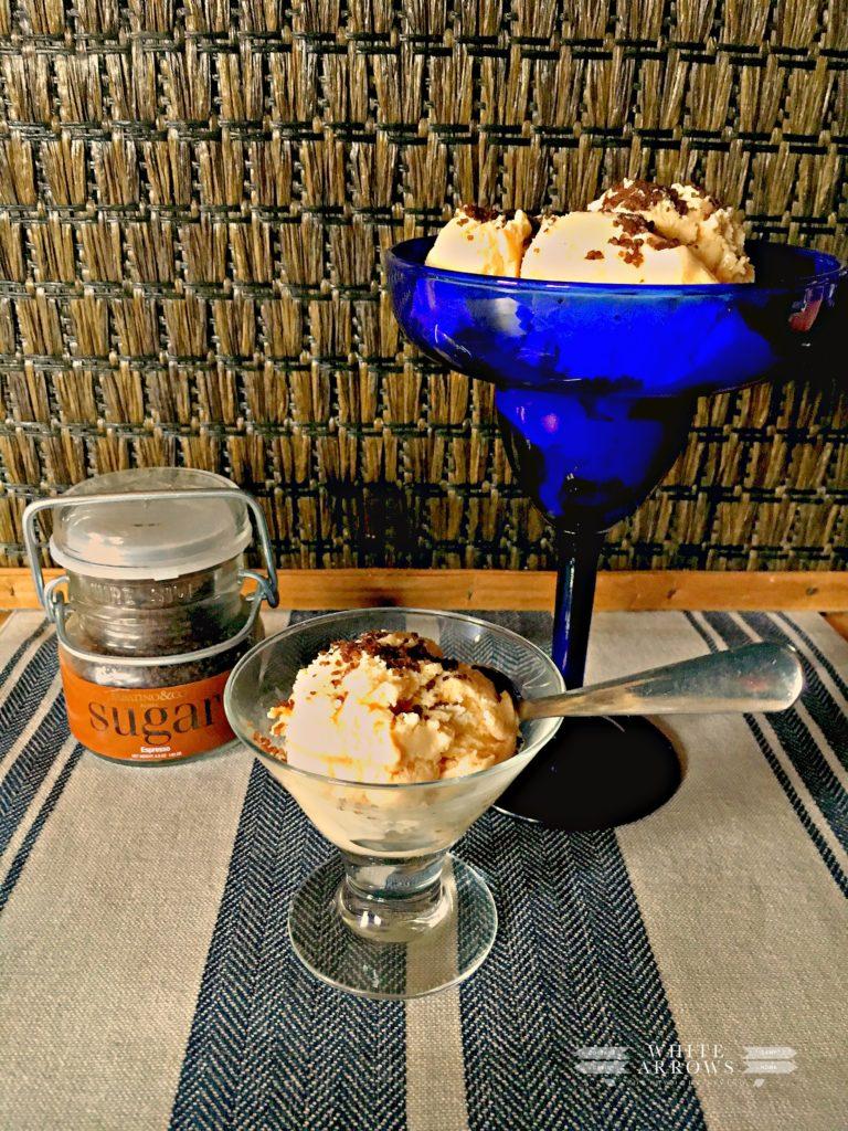 vanilla ice cream, espresso sugar