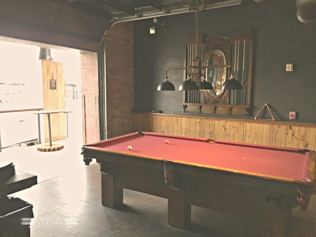 Ironhorse Hotel, Milwaukee, Pool Table, Glass Garage Door