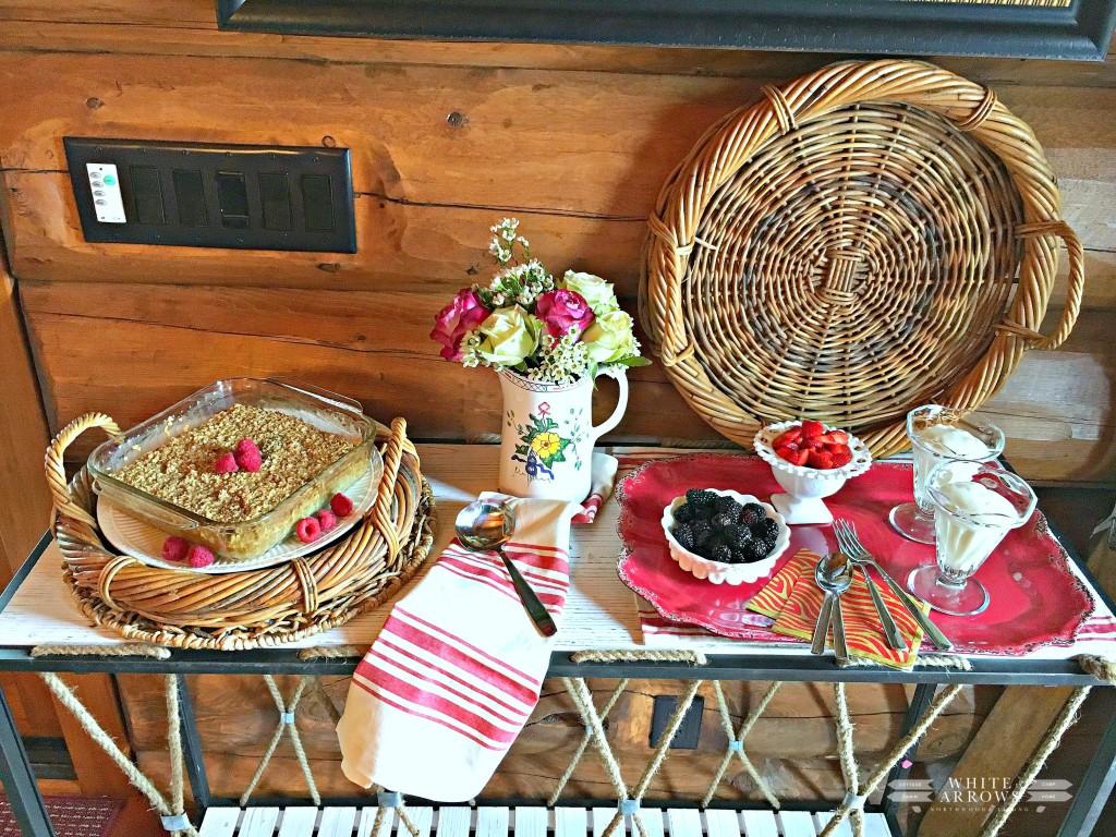 Brunch, Baked Oatmeal, Yogurt Parfait, Berries, Spring, wicker tray