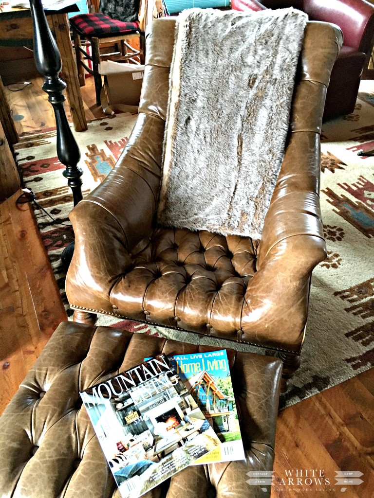 Leather Chair, Mountain Living, Fur Throw