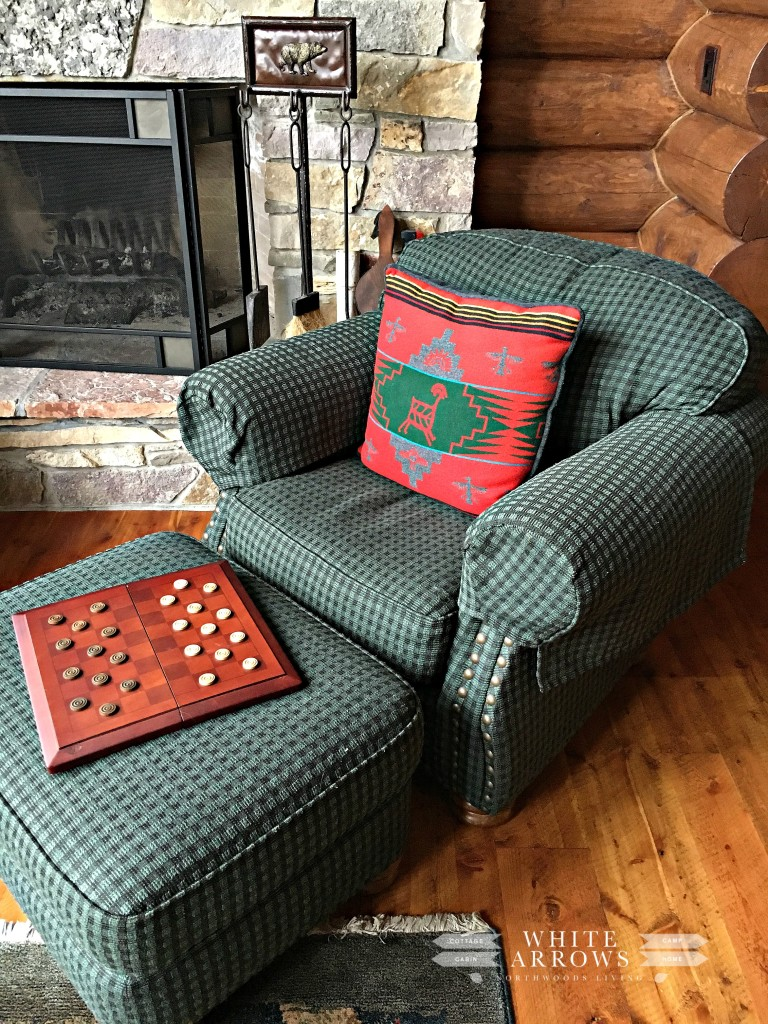 Checkers, Green Chair, Chair by Fireplace