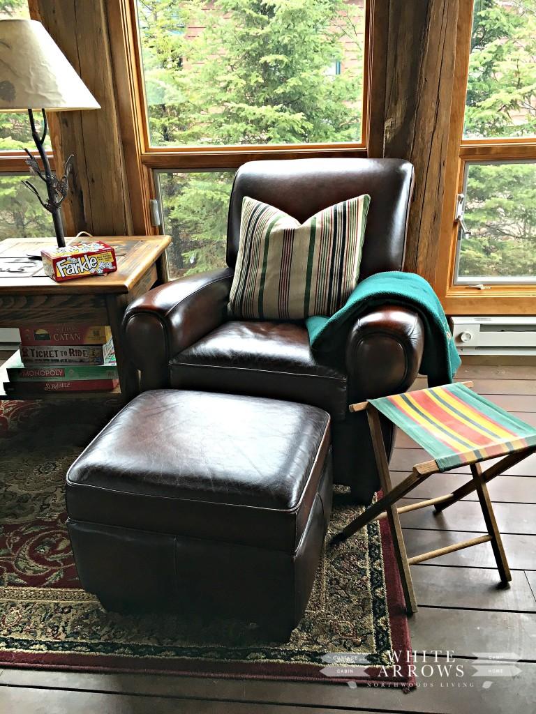 Leather Chair, Camp Stool, Sunroom