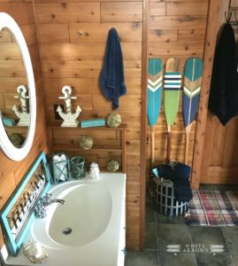 nautical, before and after, paddles, painted paddles, log cabin, bathroom, camp style, cabin style, cabin decor