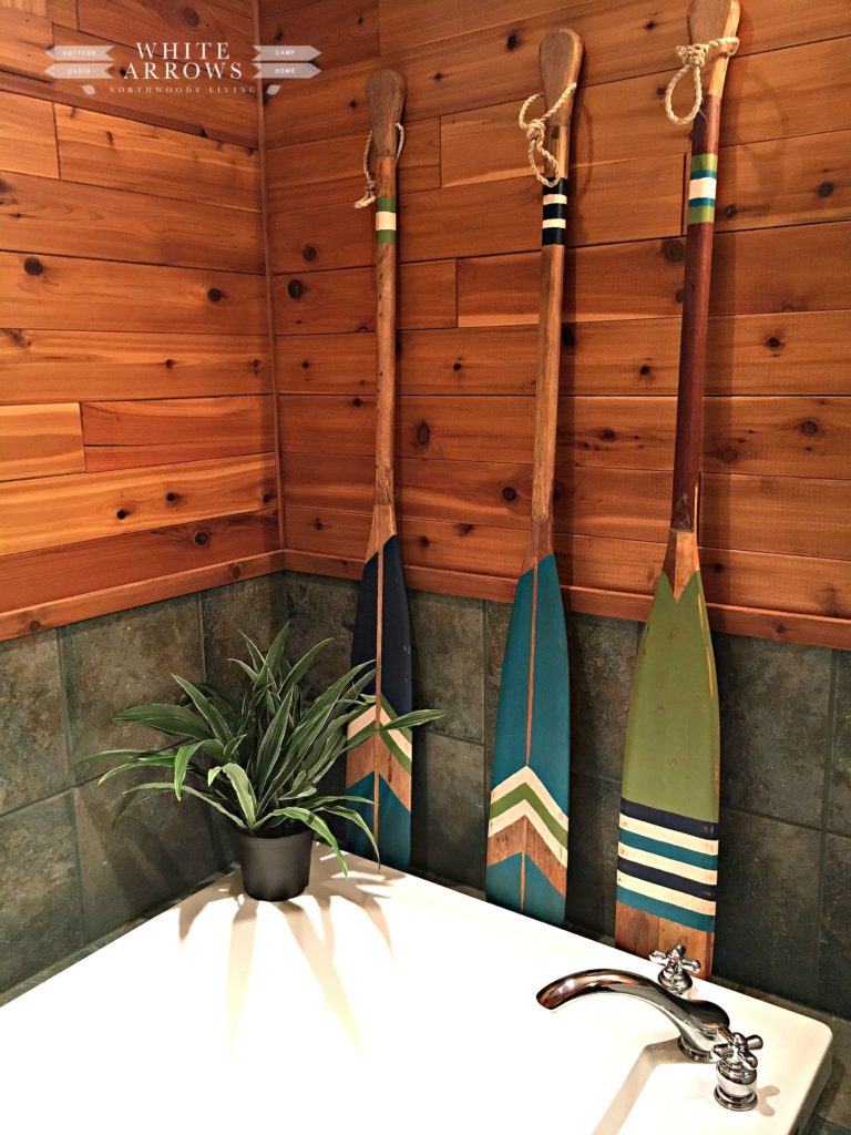 cabin decor, before and after, paddles, painted paddles, log cabin, bathroom, camp style, cabin style,