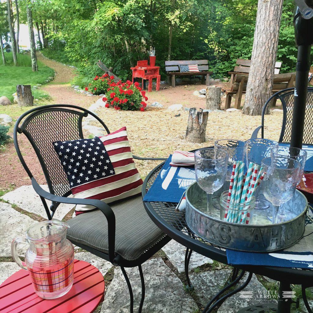 patio, fire pit, paper straws,