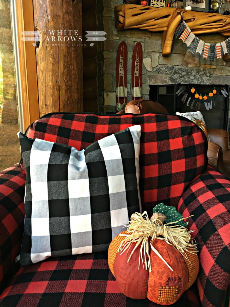buffalo plaid, fall decor, quilted pumpkin, autumn decor, red and black check, white and black check, rustic decor