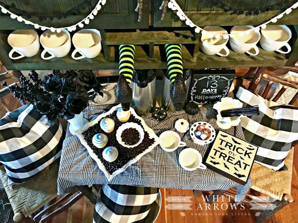 Coffee Bar, Drink Station, Witches Legs, Halloween Decor