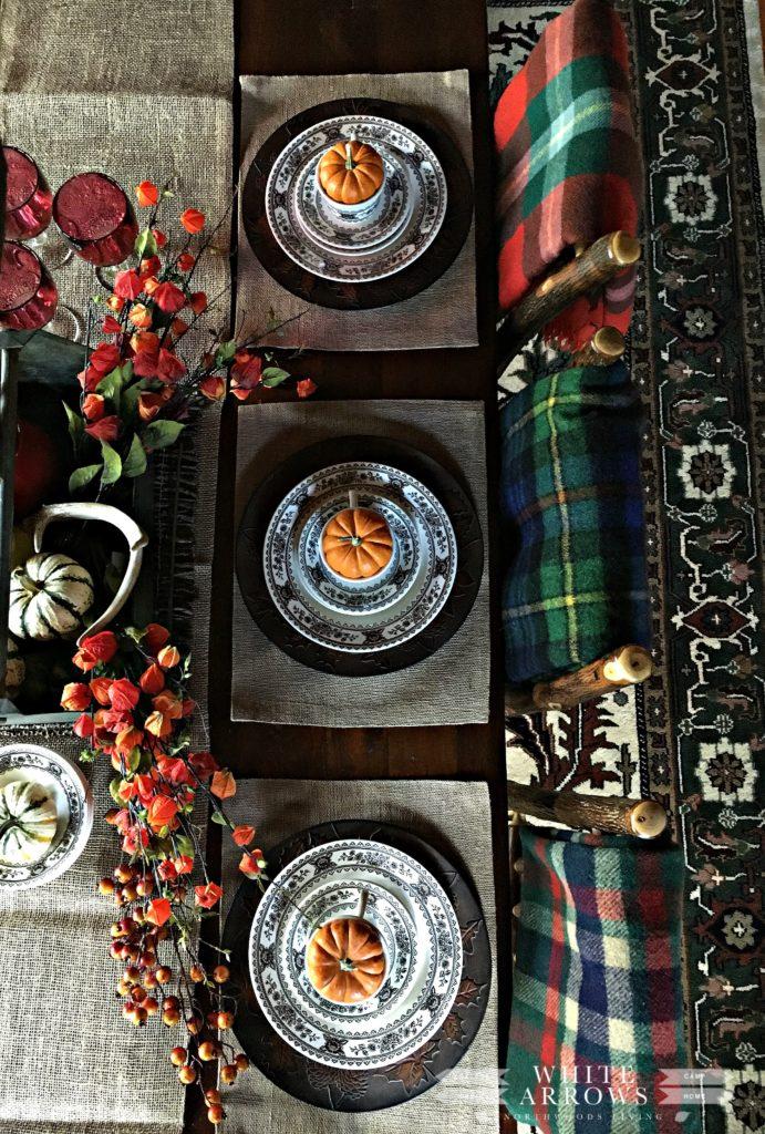 fall table setting, autumn table setting, plaid, burlap, transfer ware