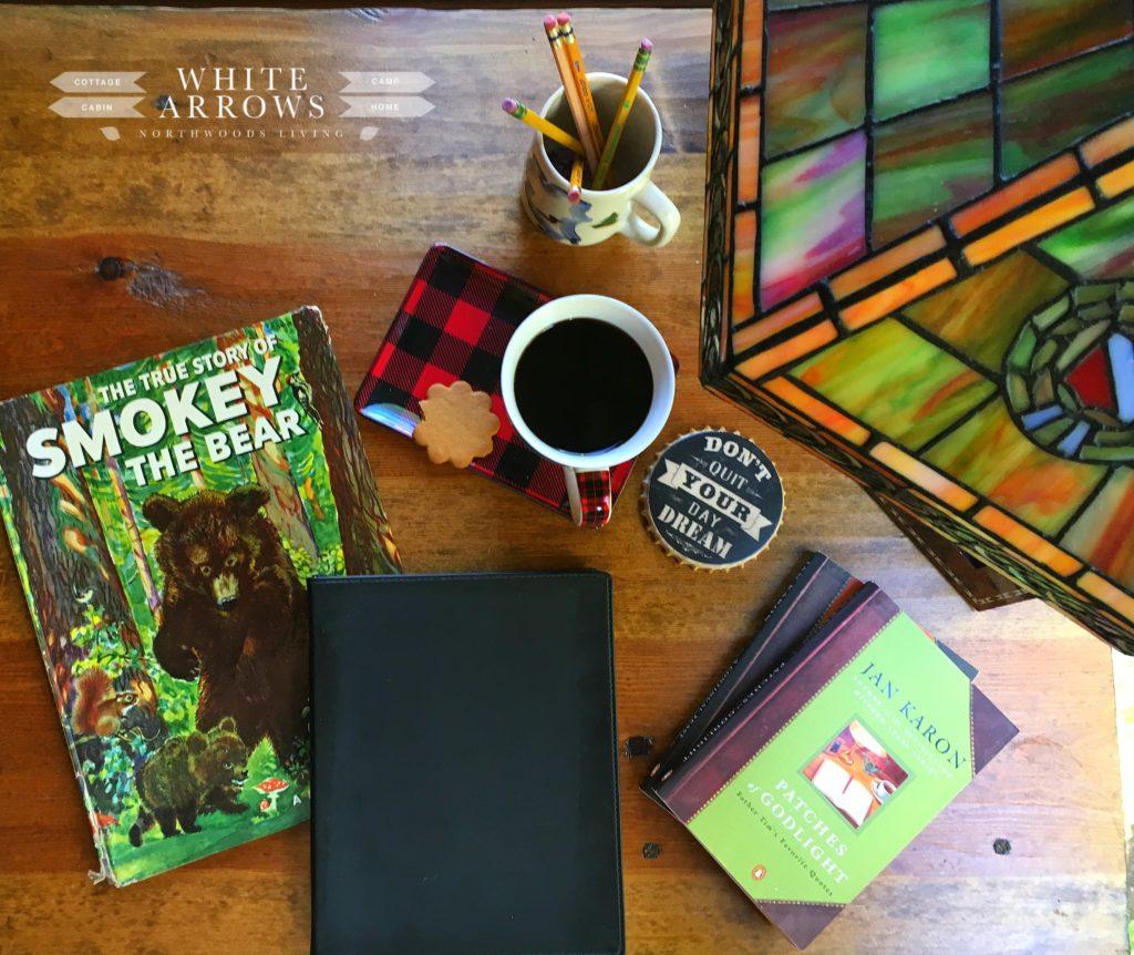 Smokey the Bear, Desk Accessories, Tiffany lamp, Desk, Buffalo Plaid, Home Office