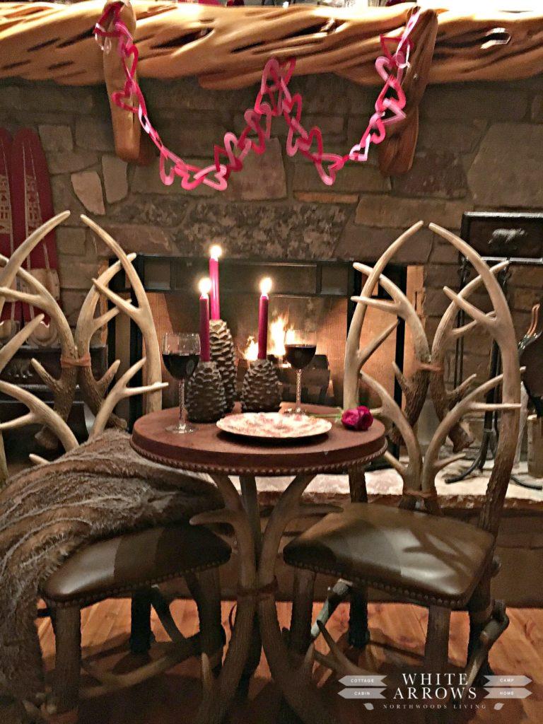 antler table, romantic dinner, Valentine's, date night, cabin, fireplace, log home, Valentine decor