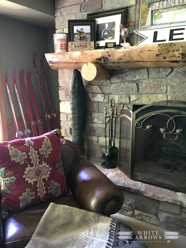 Stone Fireplace Cabin Vintage Skis