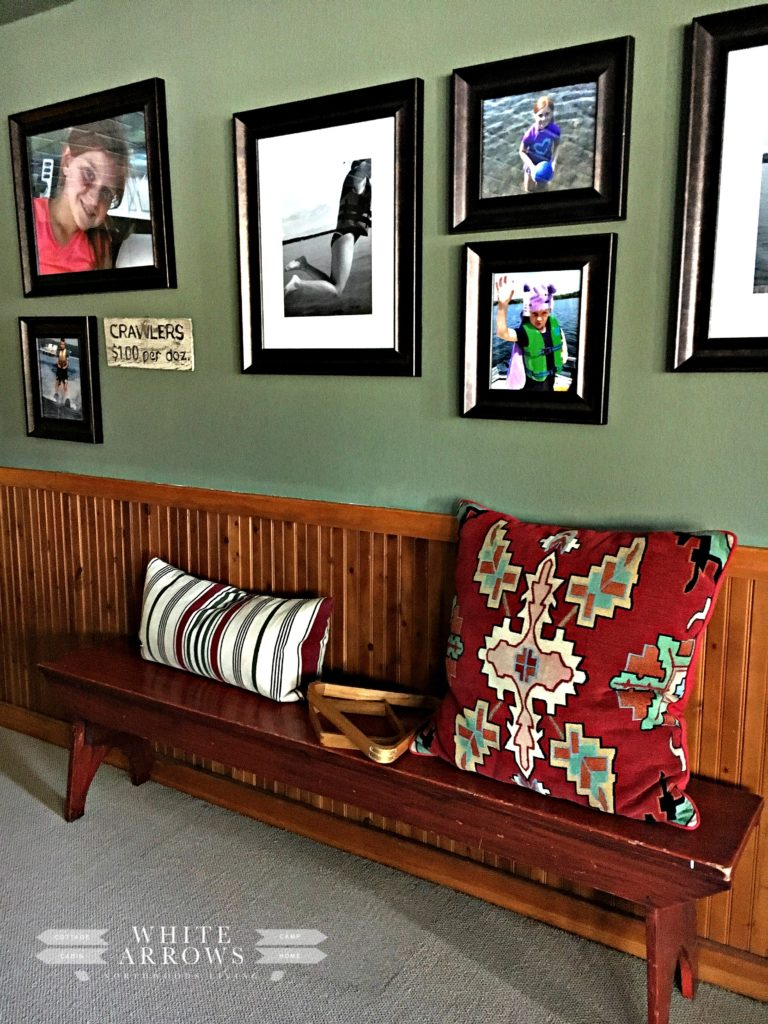 Red Bench, Gallery Wall, Lake House, Rec Room, Basement, Pool Table
