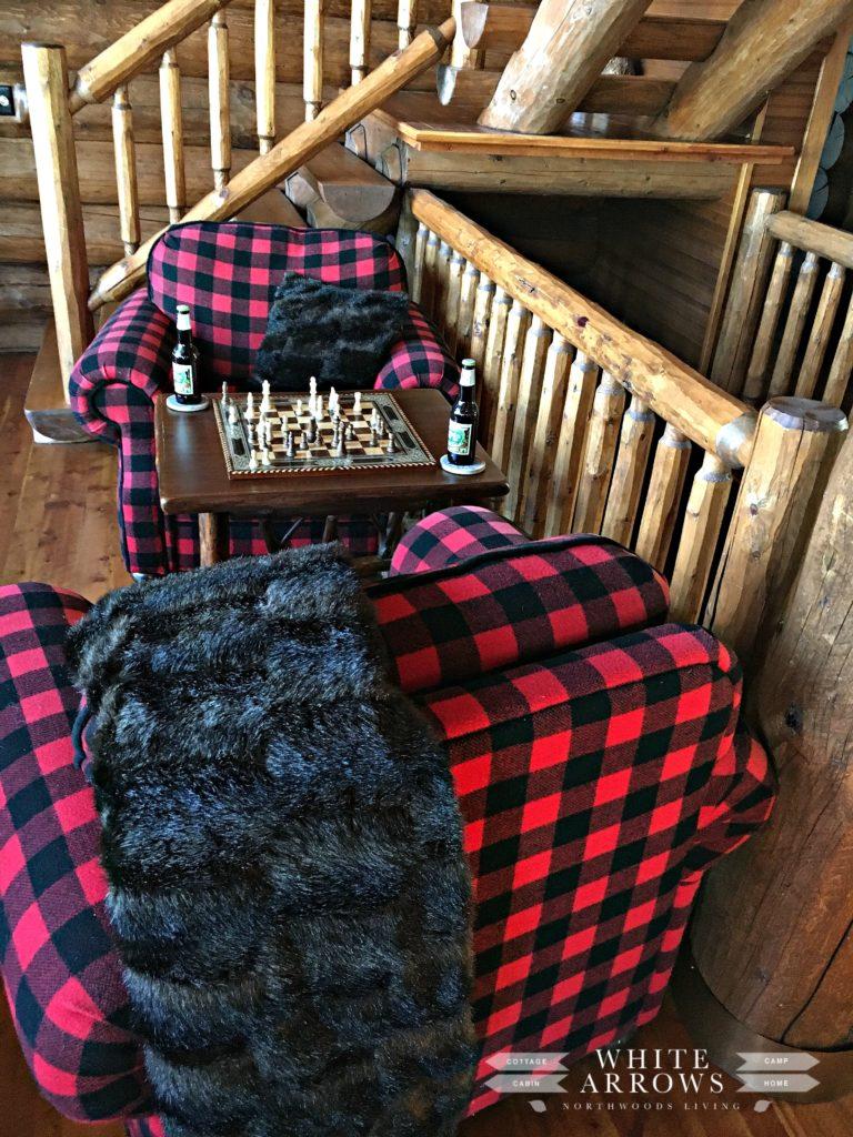 Plaid Decor, Rustic Decor, Buffalo Plaid, Chess Table, Log Cabin, Cabin Decor