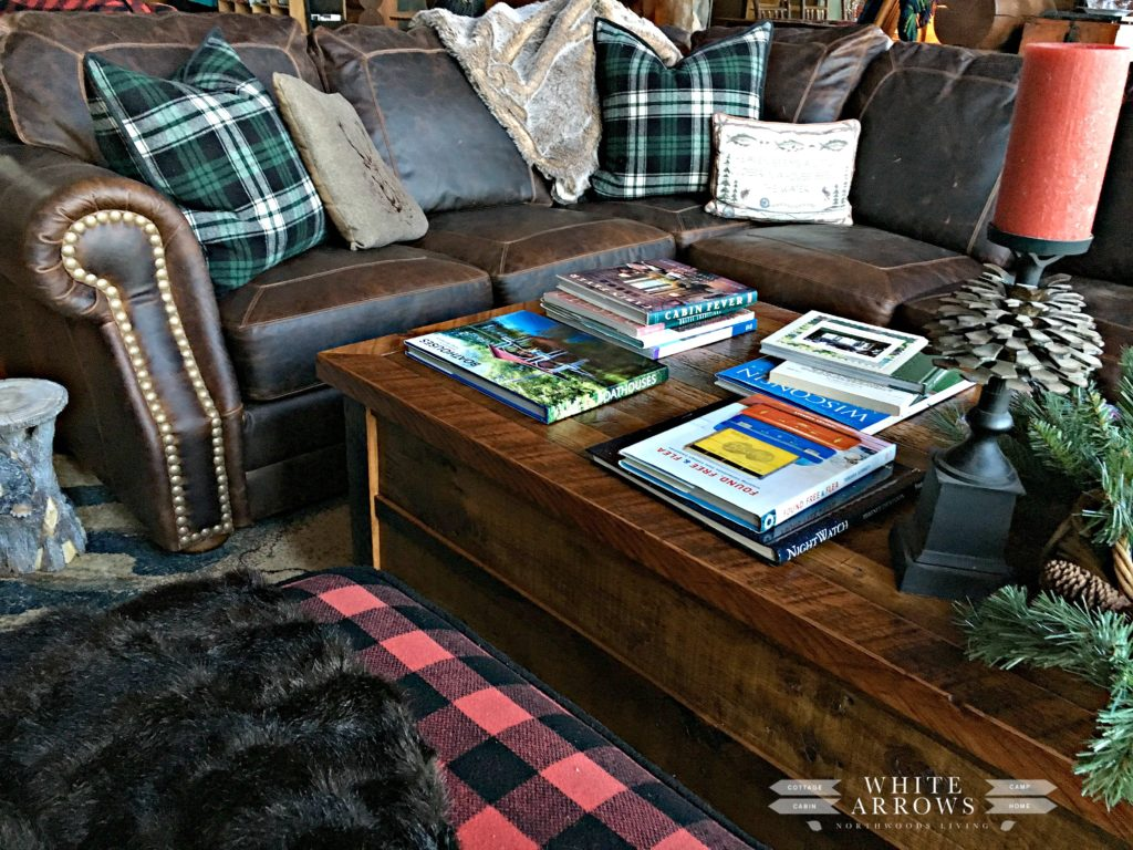 Coffee Table, Leather Couch, Plaid
