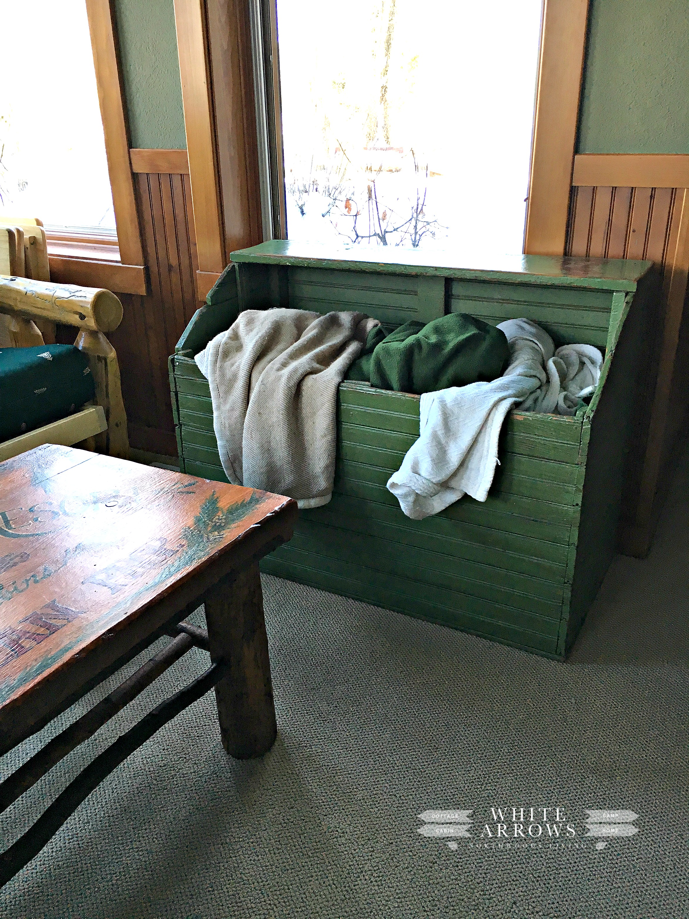 Blanket Box, cabin wood box, Wood Box