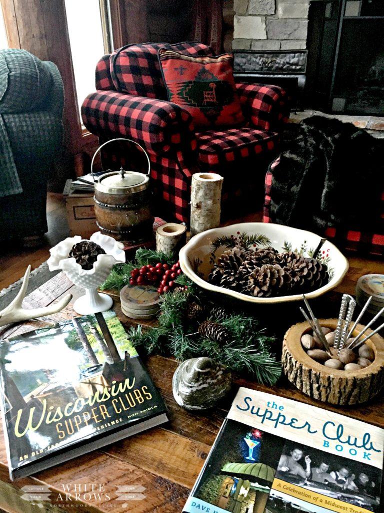 buffalo plaid, log cabin, winter decor