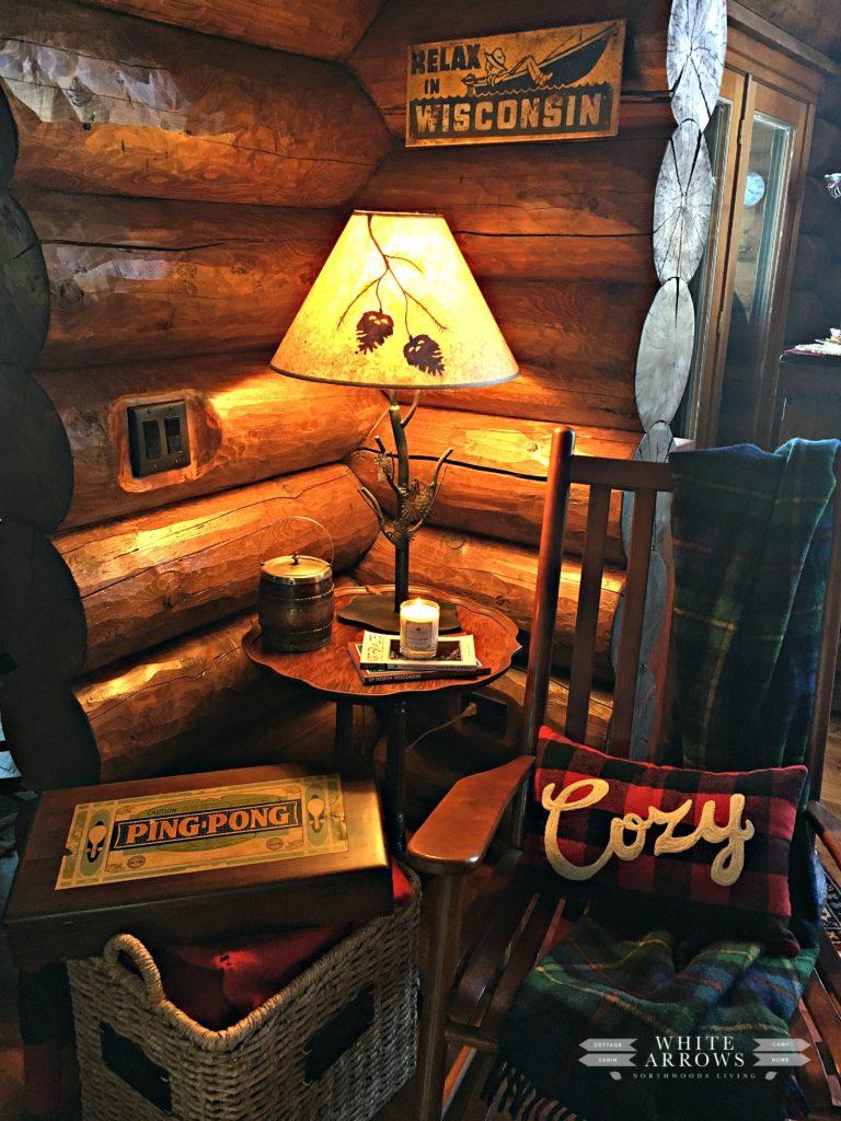 Pinecone Lamp, Rocking Chair, Log Cabin
