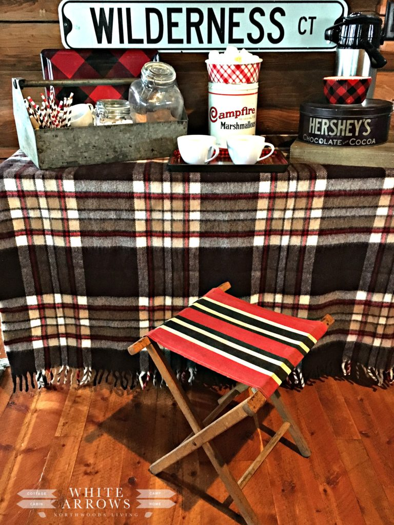 camp stool, camp blanket, plaid blanket, hot chocolate, hot chocolate bar, cabin, rustic, cabin style, rustic decor, cabin decor