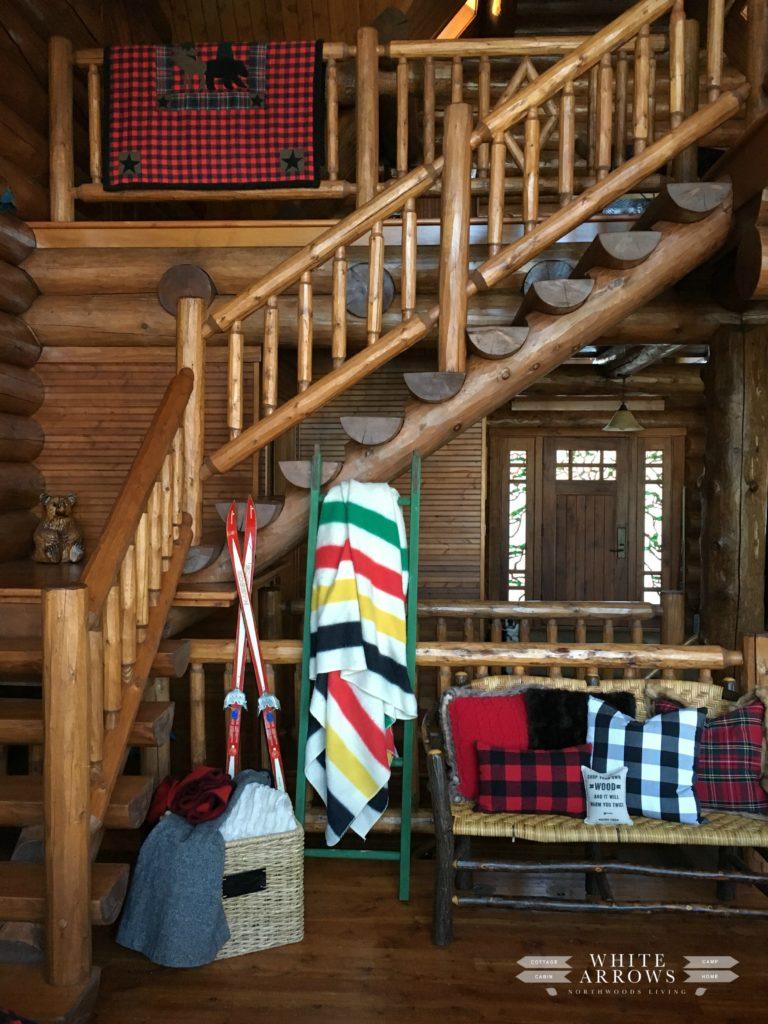 Hudson Bay, Pendleton, Rustic Decor, Wooden Ladder, Winter Decor, Cabin, Log Cabin, Log Home, Woodwork, Plaid, Staircase