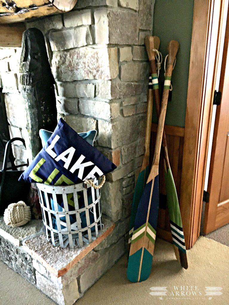 Painted Paddles, Lake House, Stone Fireplace