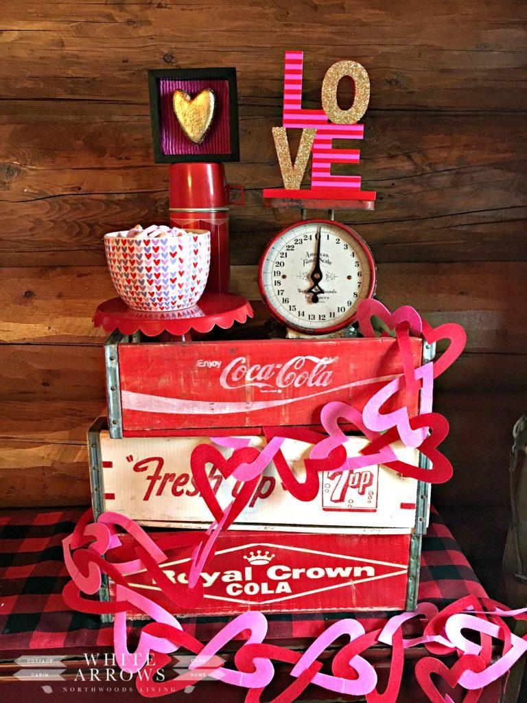 Vintage soda crate, valentine decor, vintage scale, soda crate