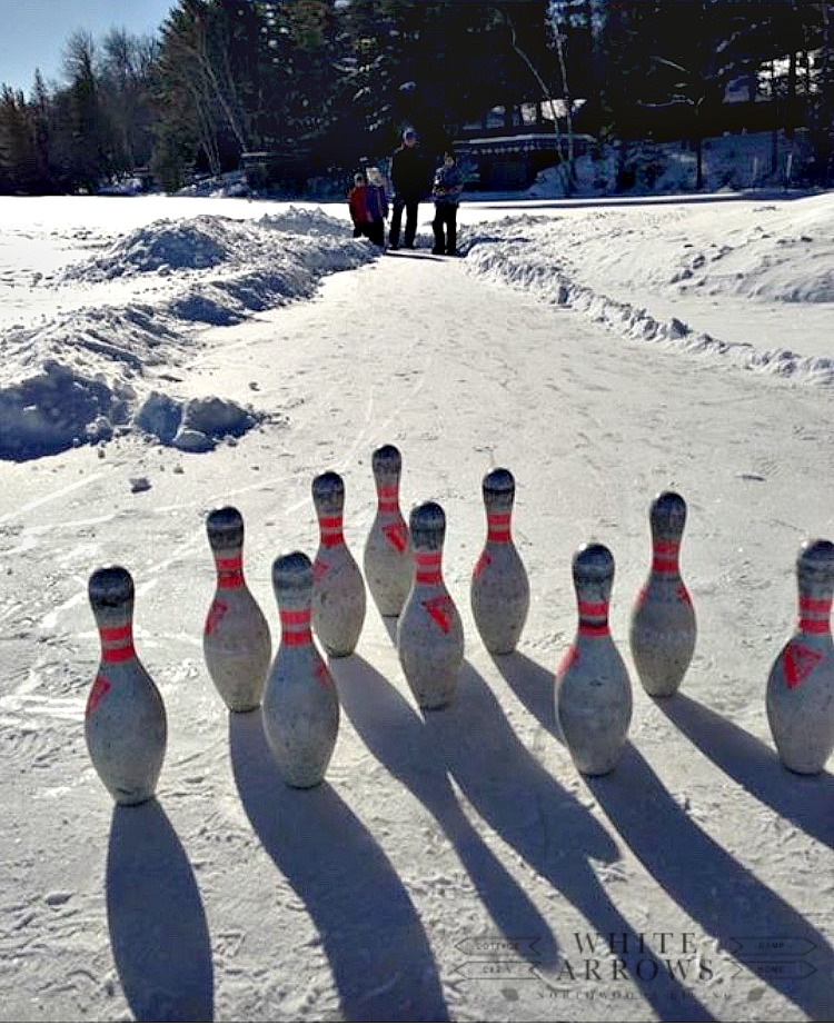 Winter Ice Bowling on the Lake