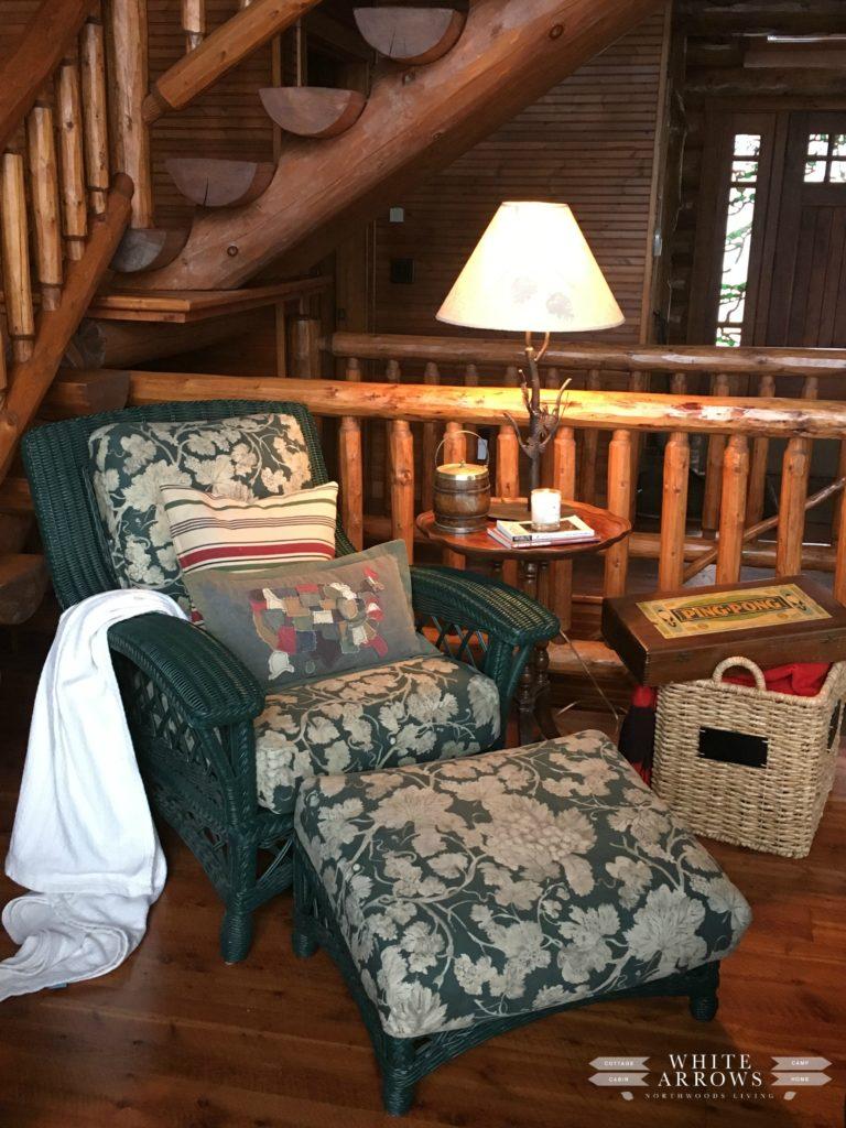 Wicker chair, log cabin, cabin, rustic decor, cabin decor, rustic, cottage decor