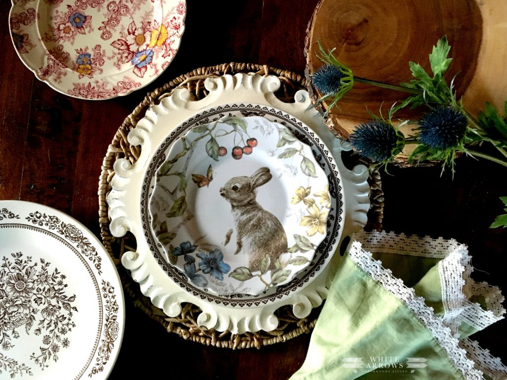 Easter Decor, Spring Decor, Pacesetting, Spring Place Setting, Bunny dish, transferware, Pier 1 dishes, Pier 1 chargers