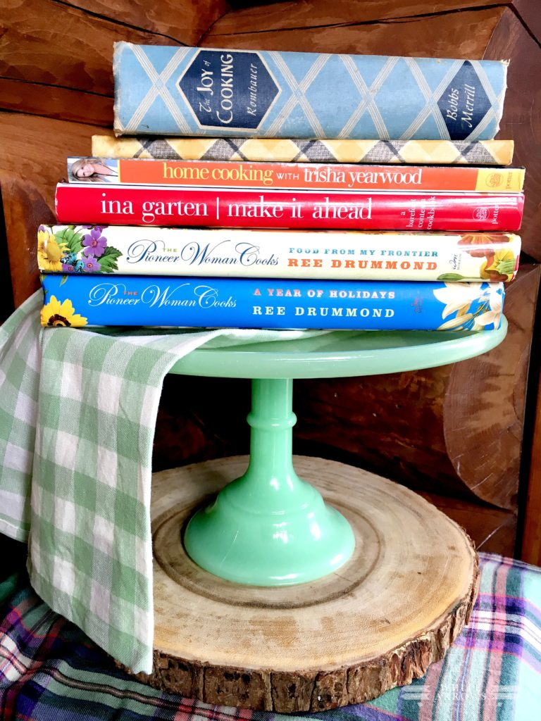 cookbooks, Pioneer Woman cookbooks, vintage cookbooks, cake stand, jadeite, jadeite cake stand, mother's day gift idea, mother's day