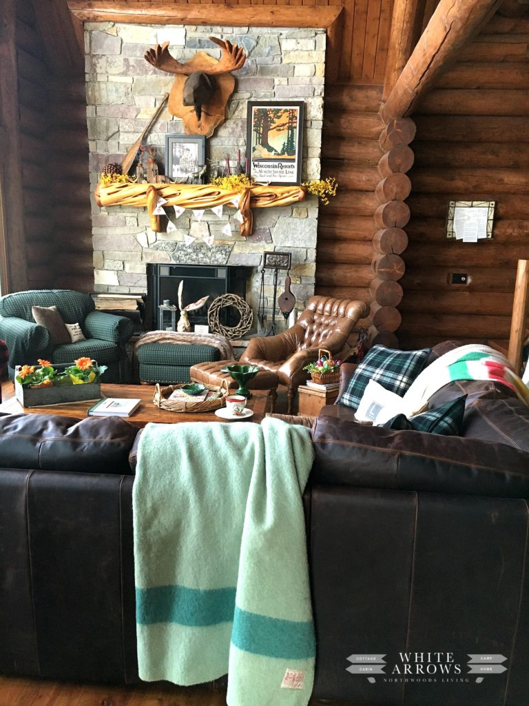 Spring Decor, Easter Decor, Great Room, Log Cabin, Cabin Style, Cabin Decor, Point Blanket, Stone Fireplace
