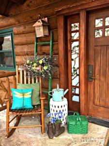 Garden Stool, Rocking Chair, Vintage Green Picnic Basket, Metal Picnic Basket, Vintage, Front Porch, Spring Front Porch, Cabin Decor, Log Cabin, Cabin Style