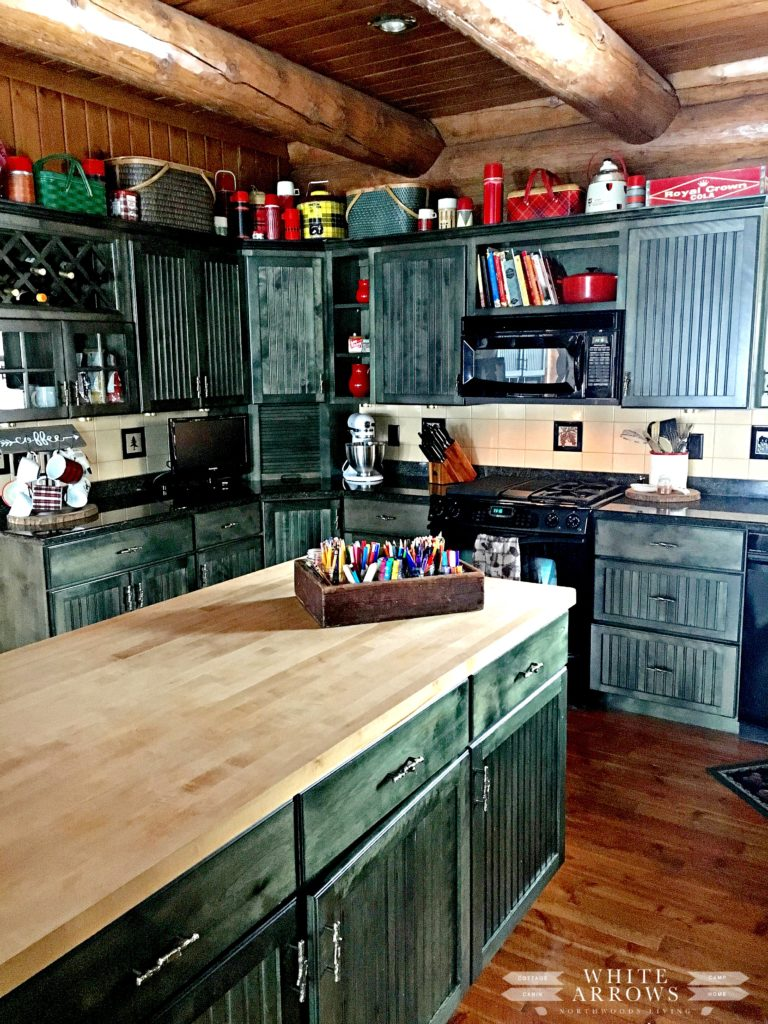 Log Cabin, Green Cabinets, Vintage Thermos, Cabin Kitchen, Kitchen, Rustic Kitchen, Cottage Kitchen