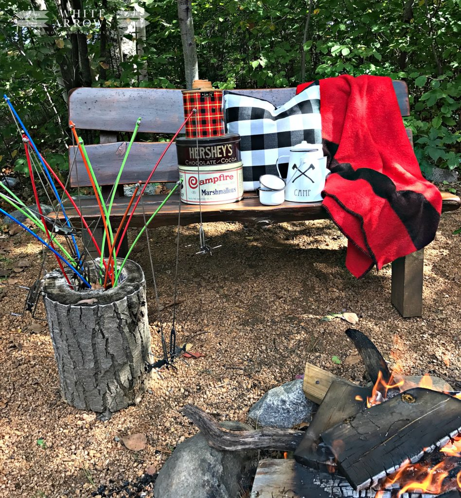 Family Vacation, Minocqua Campfire, Vintage, Campfire Marshmallow, Buffalo Plaid, Smores, Camp Style
