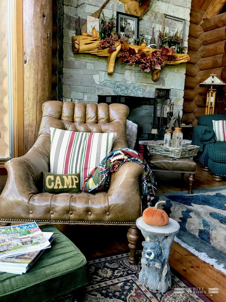 Rustic Decor, Log Home, Cabin, Great Room, Leather Chair