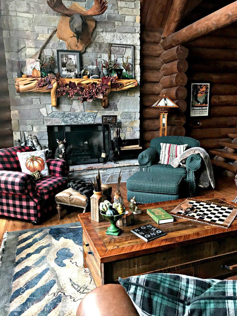 Autumn Decor, Log Cabin Great Room, Stone Fireplace