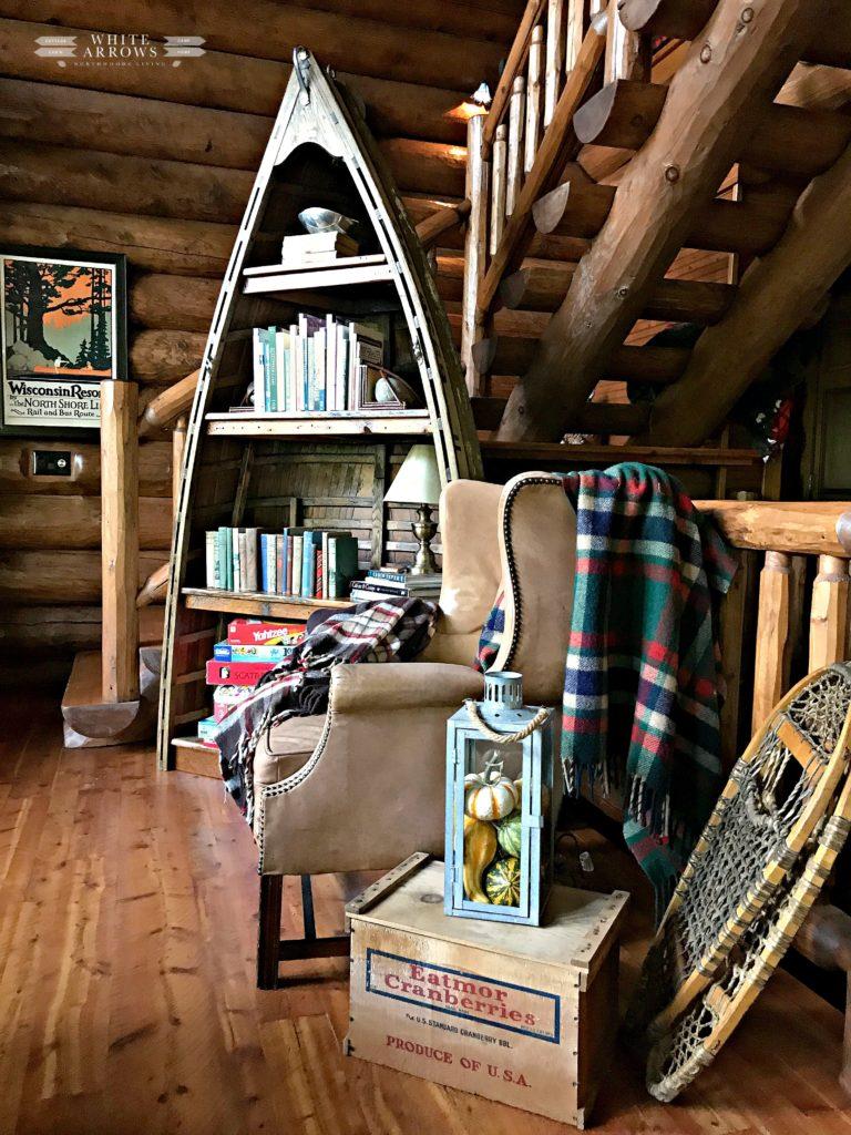 Autumn Decor, Cabin Decor, Log Cabin, Cabin, Boat Bookcase, Rustic Decor