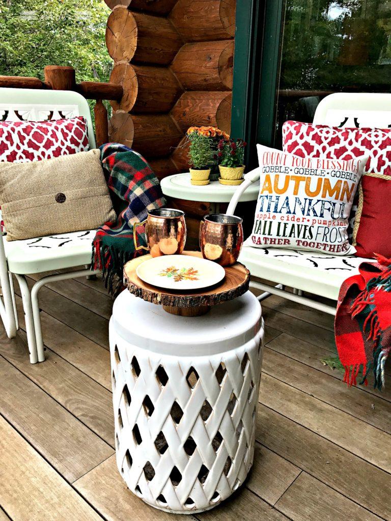 Autumn Decor, Fall Decor, Outdoor Decor, Throw Pillows, Garden Stool, Copper Mugs