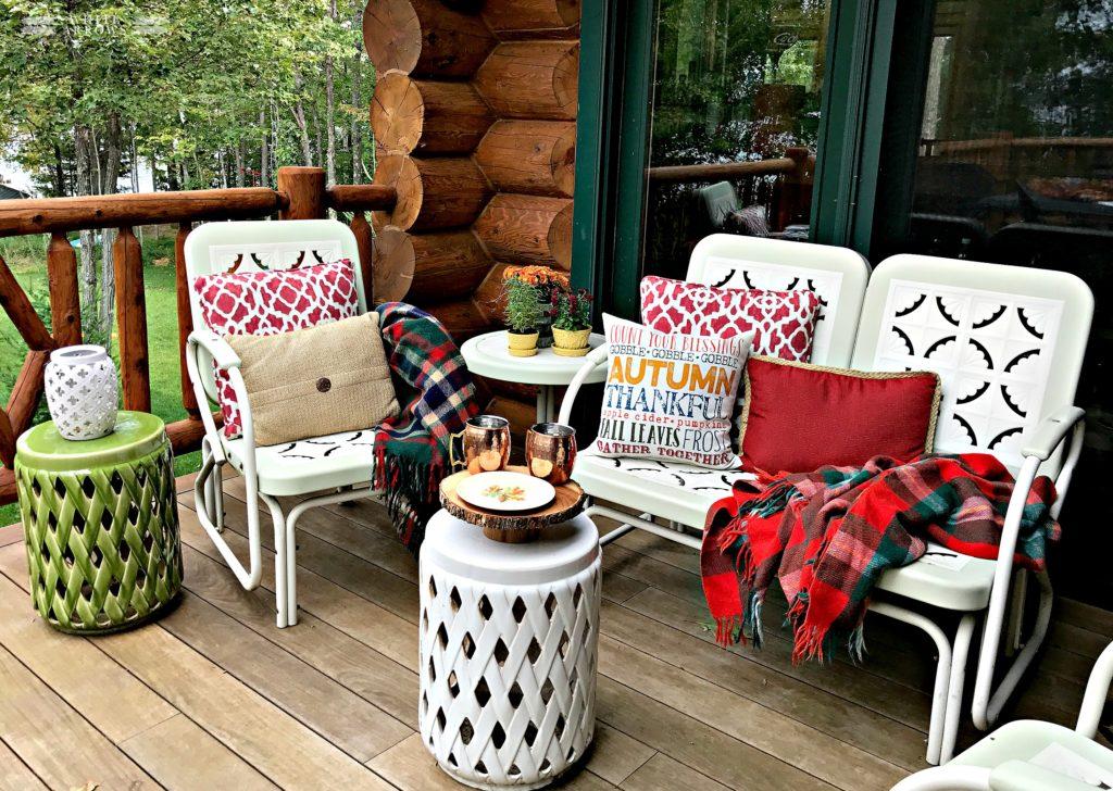 Autumn Decor, Log Cabin, Fall Decor, Outdoor Decor, Throw Pillows, Garden Stool