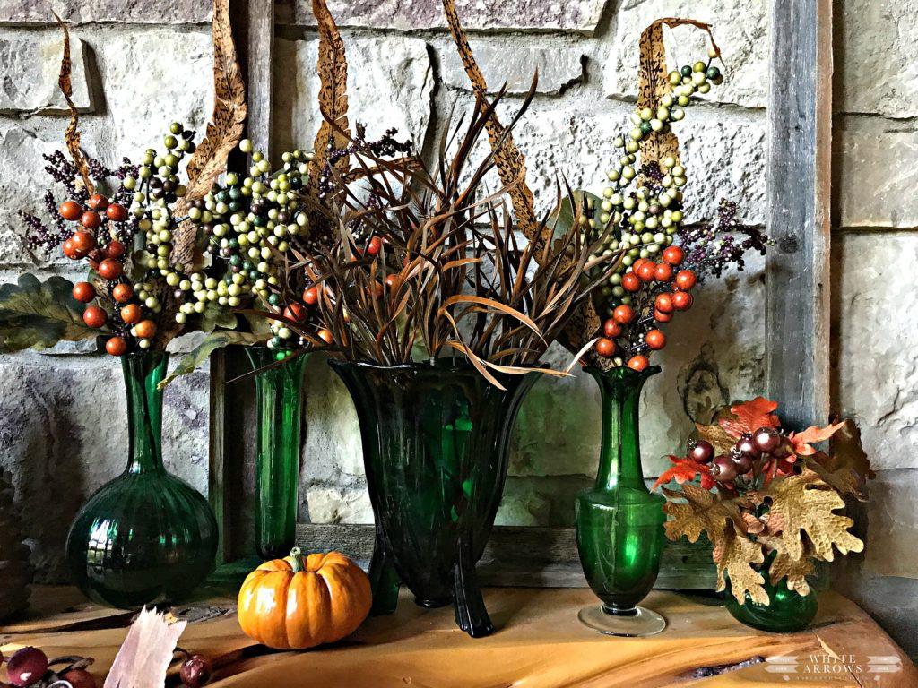 Autumn Decor, Fall Decor, Pumpkins Vintage Green Vases, Rustic Decor