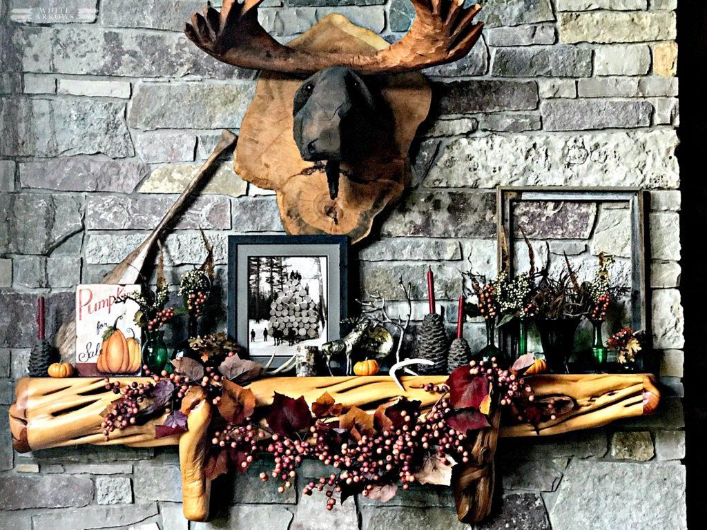 Autumn Decor, Log Cabin Great Room, Stone Fireplace, Cabin, Fall Decor