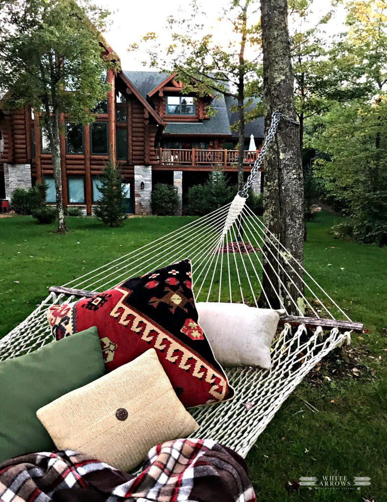 Hammock, Log Home, Cabin, Backyard