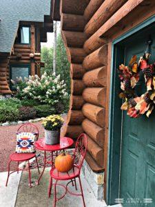 Autumn Decor, Fall Decor, Log Cabin, Cabin, Porch, Bistro Table, Fall Wreath, Green Door